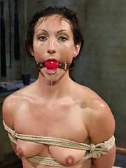 Tough sub Wenona takes suspension bondage, hard spanking, hot squirting and hot strap-on doggie anal sex from lesbian dominatrix, Felony.