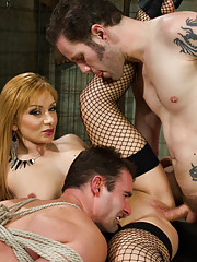 Pathetic small penis slave is cuckolding by is mistress with large cock bull!