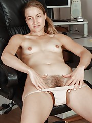 All natural hairy babe Rachel in office