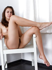 Hairy girl Alice L loves knee hi socks and denim