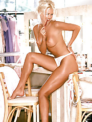 The world thinks everyone in Sweden is tall and blonde, says Victoria Silvstedt, who is grandly both. At six feet plus in high heels, Miss Sweden 1993 is blondeness perfected, the tallest and fairest of all. Growin�