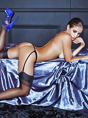 Playmate of the Year Jaclyn Swedberg is on set with photographer Jared Ryder in this lustrous new pictorial. Our girl is dressed in midnight blue � a satin bra and panties, black stockings and garters � and her long�