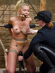 Katie is a nasty, slutty, dirty girl. She endures a crazy amount of orgasms, gets suspended in brutal bondage & begs members for their cum all LIVE!