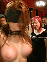 Big tittied newbie is fisted and strap-on fucked for the first time ever. Groped, fucked, and fondled by strangers, double penetrated and humiliated!!