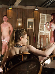 Maitresse Madeline & a group of her friends make a slave cum without touching his cock and massaging his prostate at a femdom theatre!