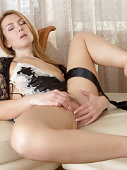 Seductive milf strips off her lingerie to fondle her hairy pussy