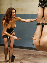 Mistress Gia Dimarco uses chastity, tease & denial, strap-on ass fucking in suspension bondage, water torture & ass worship to train her slaveboy.