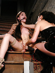 The Sasha Grey gets tied up, gagged, and shocked to multipal, intense orgasms!!! Princess Donna shows her what it take to be a cum slut.