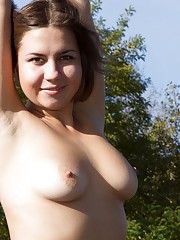 Hairy Babe Emilia on a walk in the outdoors