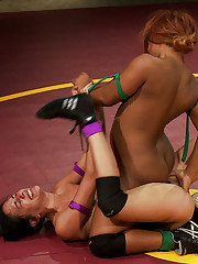 Both girls fight to the bitter end. One wrestlers starts to gas out giving the other the hope for a come from behind victory