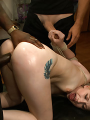 Petite blonde is tied up and made to fuck a strangers cock in public.