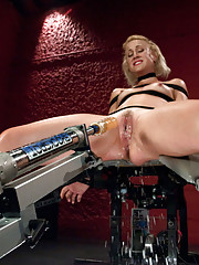 Tall, lean hottie squirts with every single orgasm from the pounding machines. Tied up and cumming, she soaks the metal beast between her legs.