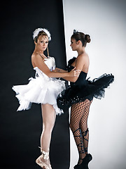 Good evening, and welcome to Playboy�s production of Swan Lake, featuring Cybergirl of the Year Leanna Decker as White Swan, and Amateur Rebecca Carter as her evil impersonator, Black Swan. In our version of the stor�