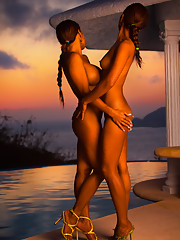 Poolside at sunset with sultry girlfriends Mary Alejo and Tia Maria Cordero is paradise.�