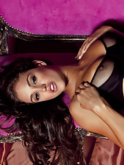 Playmate of the Year Jaclyn Swedberg is on set with photographer Jared Ryder in this sumptuous pictorial. Laid out on an ornate French setée, she�s done up in a corseted black bra, panties, thigh-highs and a pair of�