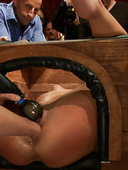 Newbie Adriana Chechik is bound, fisted, fucked, made to squirt, cattle proded, and made to cum for the crowd