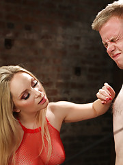 Blonde bitchy femdom humiliates, strap-on ass fucks and extracts all the cum from innocent novice slaveboy!