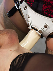 Dr. Cherry Torn tortures, feminizes, strap-on fucks her male research subject in a boundary pushing, humiliating medical cuckolding experiment.