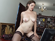 Horny hairy Mystique Jones alleviates her boredom