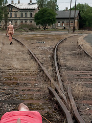 Lorelei Lee teases and denies slaveboy in Prague and leaves him bound on train tracks!