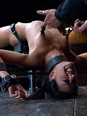 Sexy slut is immobilized by hard steel and leather and suffers extreme torment and orgasm denial.