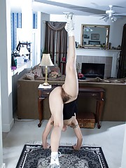 Hairy woman Isabel stretches good before exercise