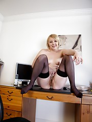 Hairy babe Danniella takes it all off at her desk