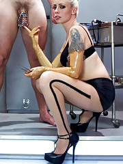 In 2053 femdoms create the perfect man in the lab who can withstand tease & denial, edging, chastity, prostate milking, fisting, strap-on anal & more!