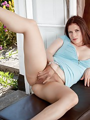 Hairy brunette Brianna Green enjoys her view