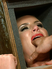 Busty Penthouse Pet in sensory deprivation head box, fisted and fucked in her big round ass