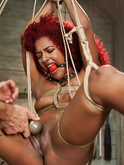 Anal Training Daisy Ducati: tested with the cattle prod, made to fuck the dick stand cowgirl style till thighs are burned out, and asshole stretched