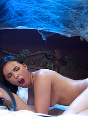 Haunted Armory sex - sorority babe fucked by possessed machines in a creepy bedroom- inflatable dildos deep, long pussy & ass fucking, intense orgasms