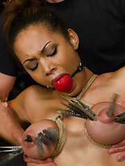 Huge Natural Tits and Super Soaked Squirting Snatch get tied to Sybian, nipple clamps all over tits, squirting orgasms with Vibe