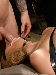 Adorable amateur, Dallas Blaze, is tied up, blindfolded, and fucked senseless at armory party