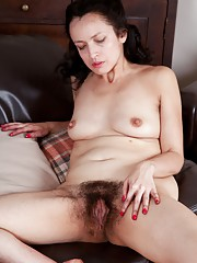 Tracey Anne strokes her naturally hairy body