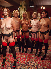 Nine Trained Slaves are fucked, disciplined and tested in the annual Upper Floor Masquerade Orgy