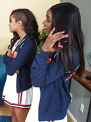 Gorgeous ebony teen cheerleaders have hot sex with big cocked stud and all orgasm loudly.