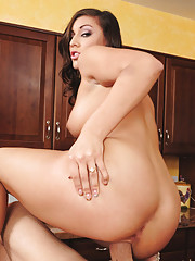 Sexy housewife Rilynn Rae loves to fuck her hubby on the kitchen counter.