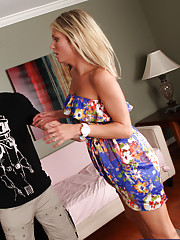 Horny blond Laura Crystal fucks and sucks a married mans huge cock.