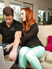 Sexy redhead Dani Jensen is horny and has hot sex with married guy.