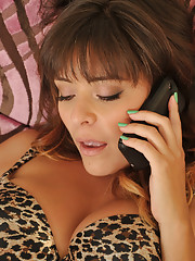 Busty latina babe talks on the phone while getting eaten out then gets fucked by big cock.