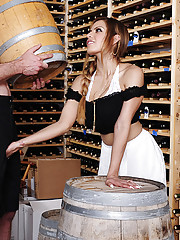 Yurizan Beltran is horny at a winery and decides to fuck guy in the cellar room.