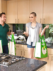 Lily LaBeau has hot sex with her big cocked neighbor in the kitchen in the hallway and on the couch.