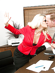 Jazy Berlin takes out her frustrations on a coworker by fucking him doggystyle.