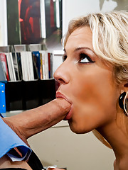 Sexy blond is seduced by her employee before bending over the desk to get fucked.