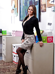 Horny Rachel Roxxx fucks and sucks her coworkers dick during office hours.