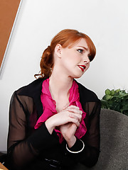 Hot redhead cougar is horny at work so she seduces worker and fucks and sucks dick in the office.
