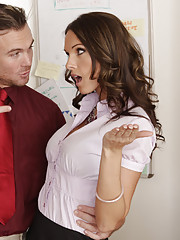 Hot worker Jennifer Dark is horny at the office and has hot sex on work desk.
