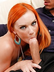 Gorgeous redhead babe has hot sex with her neighbor after arguing about neighborly stuff.