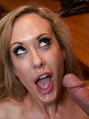 Busty hot worker surprises guy so she can suck his dick and ride his cock.